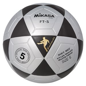 Ballon officiel de footvolley, #5, noir / argent
